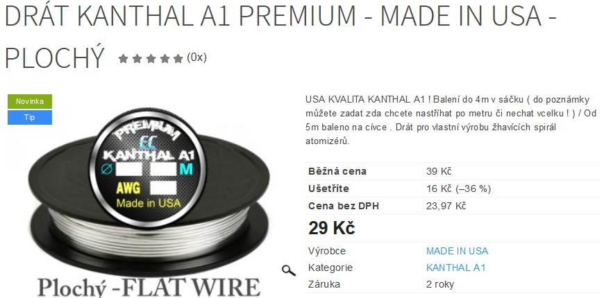 Drát Kanthal A1 PREMIUM - MADE IN USA - plochý
