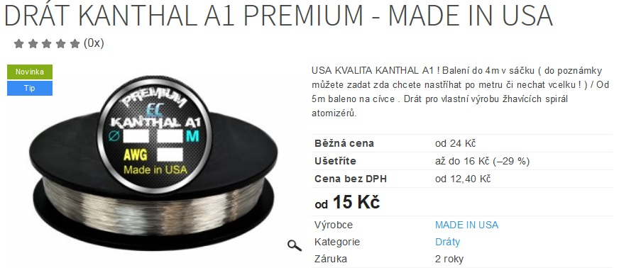 Drát Kanthal A1 PREMIUM - MADE IN USA